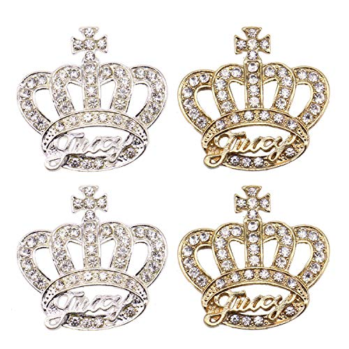 - JETEHO 20 pcs Gold Silver Crown Rhinestone Embellishments Button Decorative DIY Accessories