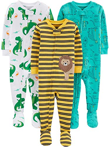 (Simple Joys by Carter's Boys' 3-Pack Snug Fit Footed Cotton Pajamas, Dino/Animals Green/Lion 12)