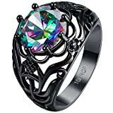AWLY Round Cut Black Gold Mystic Big Rainbow Topaz Solitaire Ring Engagement Wedding Size 6/7/8
