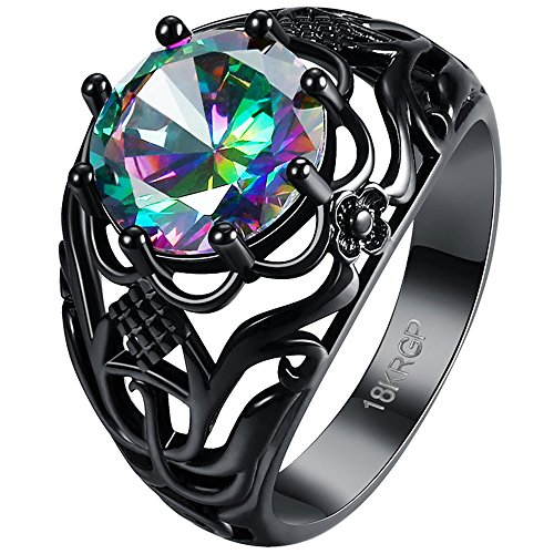 LWLH Womens Black Gold Plated Round Cut Mystic Flower Big Rainbow Topaz Solitaire Ring Engagement Wedding Szie (Dark Rainbow Rings)