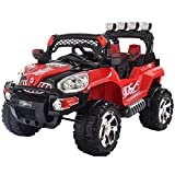 Costzon Ride On Truck, 12V Battery Powered Car, Parental Remote Control & Manual Modes Vehicle w/ Colorful LED Lights, MP3, Volume Control, Overload Protection for Kids (Red+Black)
