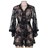 Shuohu High-end Lace Sexy Lingerie, Women Erotic Sexy Lace Nightwear See Through Sleepwear Nightgown with G-String