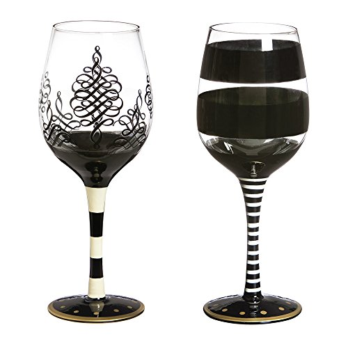 Cypress Home Striped Black and White Wine Glass, Set of 2, 12 ounces (Black Stemmed Wine Glasses compare prices)