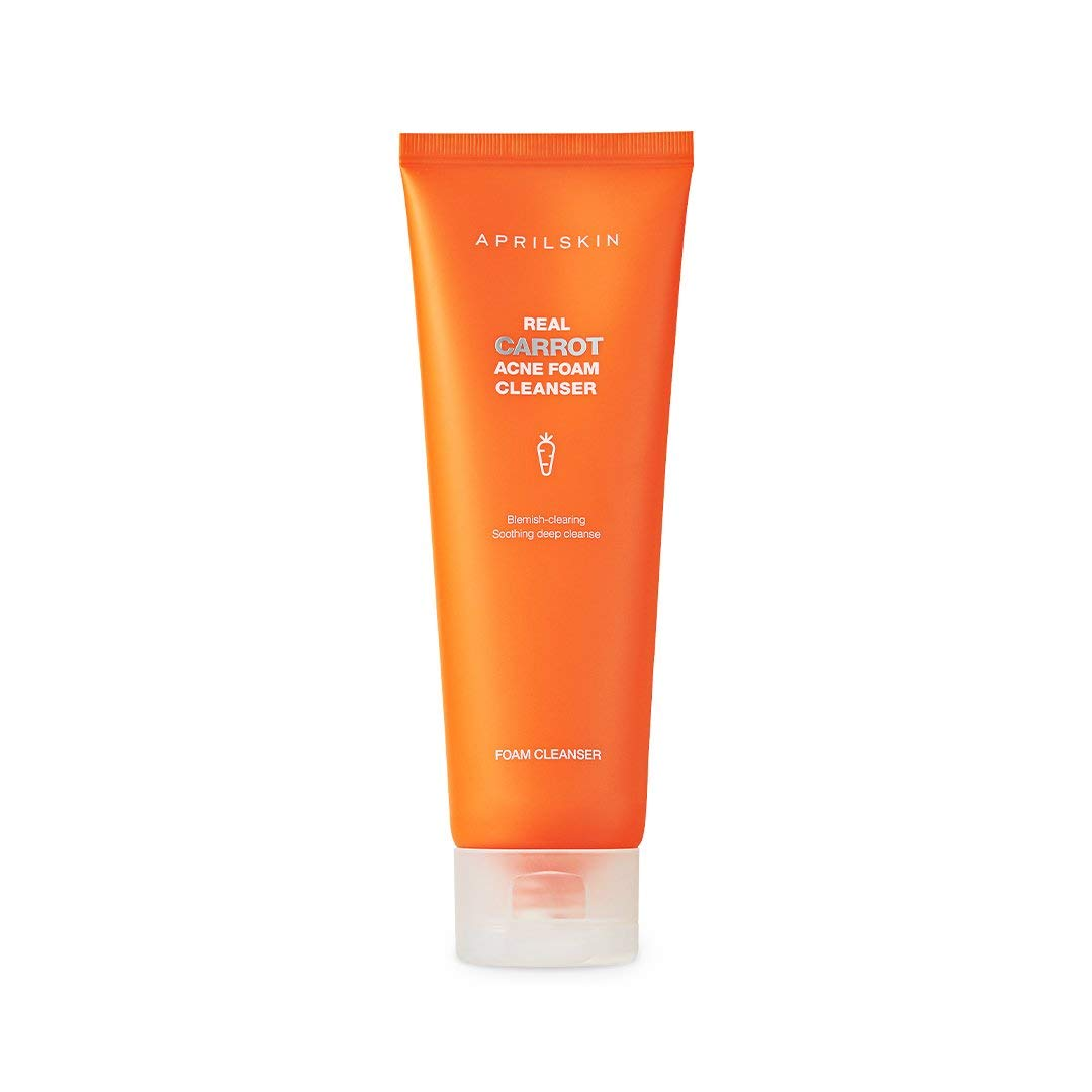 APRILSKIN Carrot Acne Foam Cleanser | Oily, sensitive, acne-prone skin | Deep cleans, controls sebum & relieves acne with BHAs | 4.05 oz | Cruelty-Free, No sulfates and artificial fragrance
