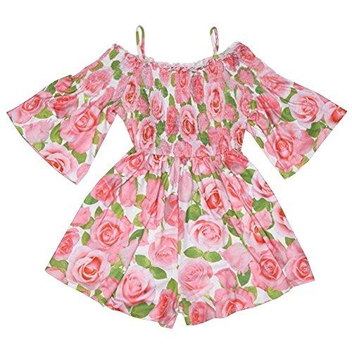Kate Mack Sundress (Kate Mack Little Girls Pink Rose Flower Allover Print Off-Shoulder Romper 6)