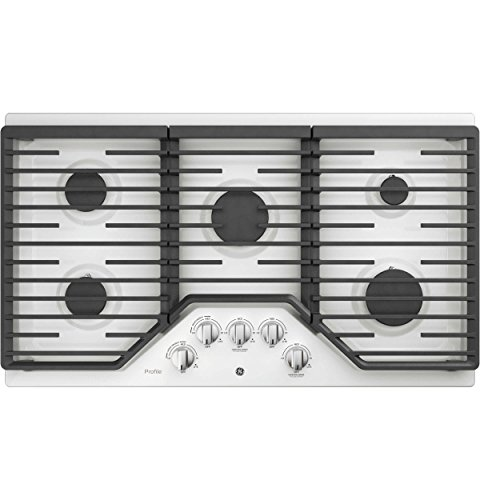 WW 36 Inch Natural Gas Sealed Burner Style Cooktop with 5 Burners, Electronic Ignition in White ()