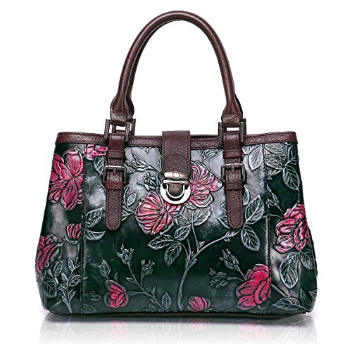 APHISON Designer Unique Embossed Floral Cowhide Leather Tote Style Ladies Top Handle Bags Handbags C817 Green