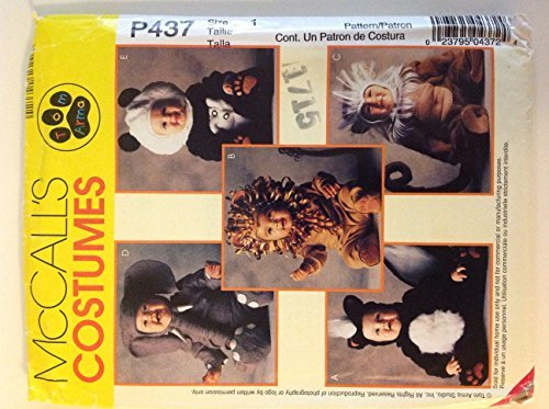 [McCall's Costumes P437 Tom Arma, Toddlers Size 1 Animals Skunk, Lion, Monkey, Elephant and Panda] (Tom Arma Monkey Costumes)
