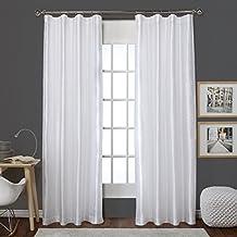Exclusive Home Curtains Bolero Faux Silk Clip Ring / Rod Pocket Window Curtain Panel Pair, Winter White, 54x84
