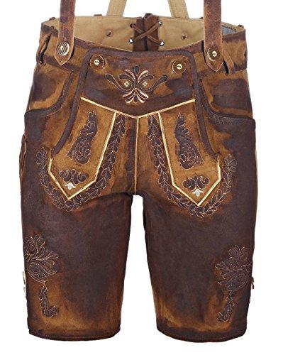 kurze Herren Trachten-Lederhose aus Ziegenleder mit Stickerei, used-look (gewachst), braun, Größe 46