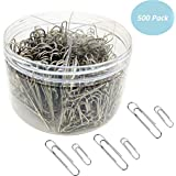 Paper Clips, 500 Pieces Paperclips, Silver, Medium 28mm and Jumbo Sizes 50mm, Document Organizing, Paper Clips for School Office(500 pcs Sliver)