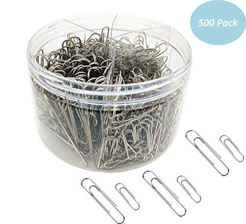 Paper Clips, 500 Pieces Paperclips, Silver, Medium 28mm and Jumbo Sizes 50mm, Document Organizing, Paper Clips for School Office(500 pcs Sliver) by SZoffice