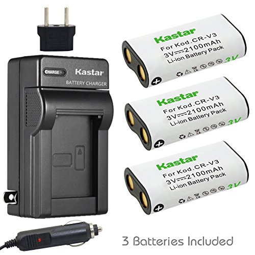 Kastar Battery 3-Pack and Charger for Canon PowerShot A60,70,75,300, Nikon Coolpix 600,700,800,950,990,2100,2200,3100,3200, Olympus, Pentax,Kodark, Sanyo, Digibino, Casion, Samsung Dig (Crv3 Charger)