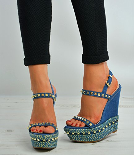 Brand New Womens Rock Studs Platforms Ladies Girls Very High Wedge Heels Peep Toe Ankle Strap Summer Party Sexy Shoes Size Uk 3-8 Blue huRI0lNu