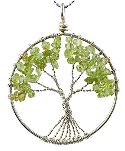 "Tree of Life Necklace Gemstone Necklace Natural Peridot Necklace Healing Crystals Chakra Jewelry 26""-28"" Chain Great Gift GGP9-13"