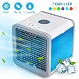 HikeGeek Air Cooler Personal Space USB Portable Air Conditioner, New Upgrade Mini Smart Humidifier Cooling Fan with 7 Colors LED Lights for Household Yoga Work Night Light Outdoor Travel and More