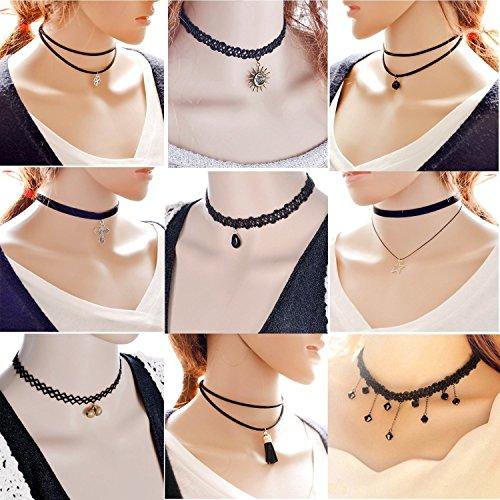 adecco-llc-9-pcs-womens-classic-black-velvet-and-black-stretch-gothic-tattoo-and-black-lace-choker-c