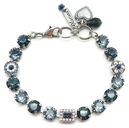 (Mariana Swarovski Crystal Silvertone Bracelet Blue Mix Circle Rectangle Mosaic 1069 Mood Indigo)