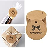 Handmade Tags -Rucan 100PCS Gift Tags Brown Kraft Paper Tag Card for Wedding, Birthday, Graduation, Party Decoration