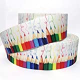 Crayons Back To School Fabric Grosgrain Ribbon 10 Yds 2 14 Wide