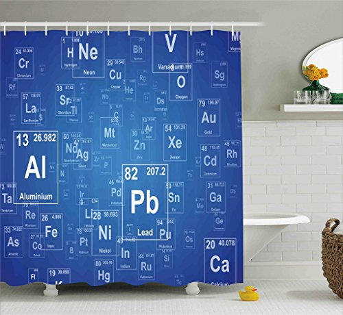 Ambesonne Science Shower Curtain, Chemistry Tv Show Inspired Image with Periodic Element Table Image Print Art, Fabric Bathroom Decor Set with Hooks, 70 Inches, Blue and - Shower Table Periodic