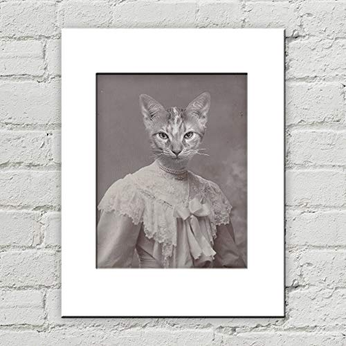 (Victorian Cat Lady Matted Anthropomorphic Art Print 8 Inches x 10 Inches)