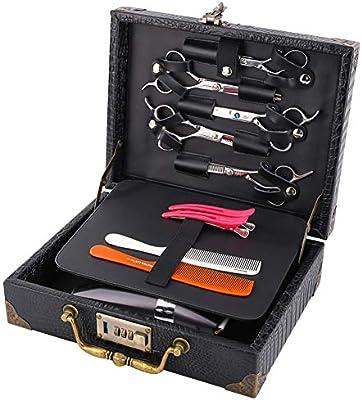 Caja de barbero portátil Bolsa de PU Tijeras de salón de cuero Soporte de caja de almacenamiento con bloqueo de código Caja de salón retro: Amazon.es: Belleza