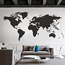 World Map Wall Decal World Country Atlas the whole world Sticker Vinyl Wall Map Decor Office Wall Art Decoration Black