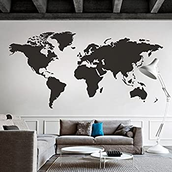 MairGwall World Map Wall Decal The Whole World Wall Vinyl Art Sticker For  Home And Office (Black, 24