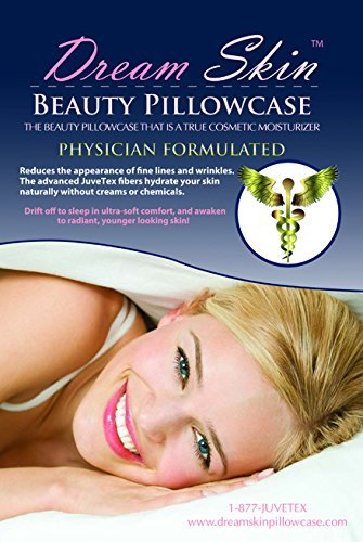 DREAM SKIN Anti Aging Facial Wrinkle Luxury Beauty Pillowcase Physician Formulated JUVETEX soft silk Standard/Queen White