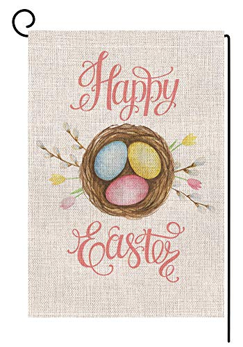BLKWHT Happy Easter Garden Flag Vertical Double Sided 12.5 x 18 Inch Spring Yard Decor
