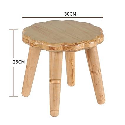 Amazon.com: Taburete pequeño banco de madera de pino para el ...