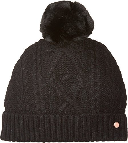 Ted Baker London Junior's Cable Knit Cuff Pom Beanie, Black, One Size