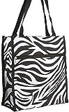 Zebra Print Tote Bag (Black)