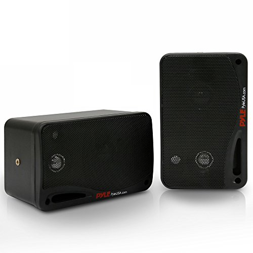 Outdoor Waterproof Wireless Bluetooth Speaker – 3.5 Inch Pair 3-Way Active Passive Weatherproof Wall, Ceiling Mount Dual Speakers System w/Heavy Duty Grill, Patio, Indoor Use – Pyle PDWR42BBT (Black)