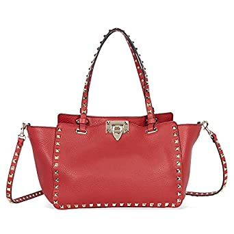 a8f9c5ca010 Amazon.com  Valentino Garavani Rockstud Small Leather Tote - Rosso V.   Clothing