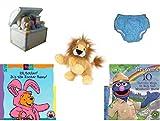 Children's Gift Bundle - Ages 0-2 [5 Piece] Includes: 1998 Enesco Porcelain Baby Toy Chest Nightlight, Circo Infant Reusable Swim Diaper Blue Size L 18 Months 22-25 lbs, Ganz Lil'Kinz Lion Plush, 6.