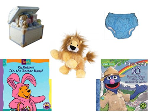 Children's Gift Bundle - Ages 0-2 [5 Piece] Includes: 1998 Enesco Porcelain Baby Toy Chest Nightlight, Circo Infant Reusable Swim Diaper Blue Size L 18 Months 22-25 lbs, Ganz Lil'Kinz Lion Plush, 6. by Secure-Order-Marketplace Gift Bundles