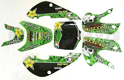 Aftermarket Racing Decals Graphic Sticker Set for Dirtbikes Compatible with Kawasaki KLX110 KLX 110 KX65 KX 65 RockStar Metal Mulisha Style