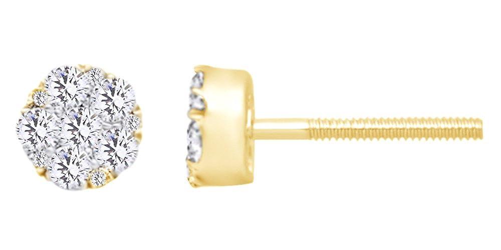0,75 kt Form natürlichen rund Weißszlig; Diamant-Cluster-Ohrstecker in 14 ct 585 Massiv Weißszlig; Gold 14 Karat (585) GelbGold