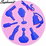 Star-Trade-Inc - 10PCS/SET DIY Mirror Comb Silicone Mold Make Up Tools Candy Fondant Decorating Tools Christmas Silicone Chocolate Moulds m905