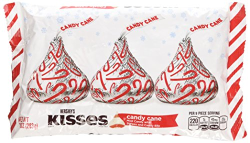Hershey's Kisses Candy Cane - Mint Candy with Stripes and Candy Bits 10 Oz (Pack of 3) - Kiss Stripe