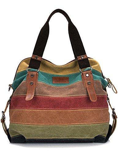 Aidonger Damen Vintage Canvas und Leder Schultertasche (Mehrfarbig Mosaik)