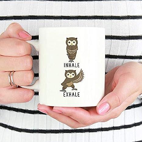 DKISEE Inhale Exhale Owl Coffee Mug, Owl Yoga Coffee Mug ...
