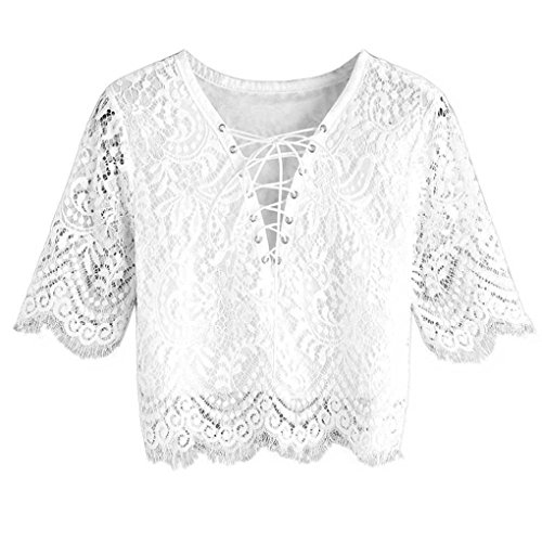 Ladies Eyelet String Top - Women Lace T-shirt,Toponly Summer Short Sleeve Eyelet Lace Up Blouse V-Neck Tops For Women (Fashion White, L)