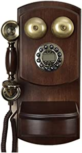 LIUBUO Wall-Mounted Vintage Rotating Retro Telephone Wired Landline Backlight Hands-Free Rotary Dialing Replay Hands-Free Ringtone Adjustable for Home Hotels, Bronze