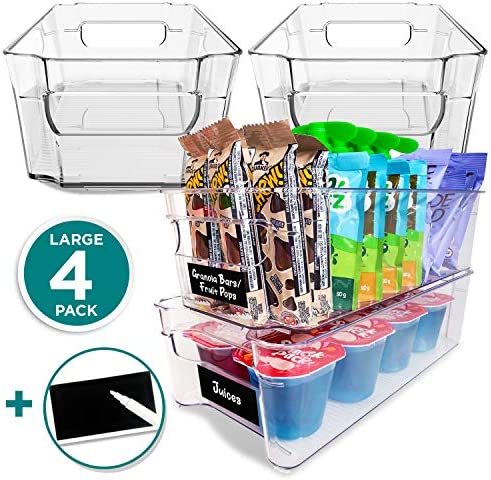 4 Pack Pantry Bins - Stackable Fridge Organizer - Sturdy Pantry Storage Bins - Quality Clear Organizing Bins - BPA Free Pantry Organization - Space Saving Kitchen Organization - Kitchen Storage Bin