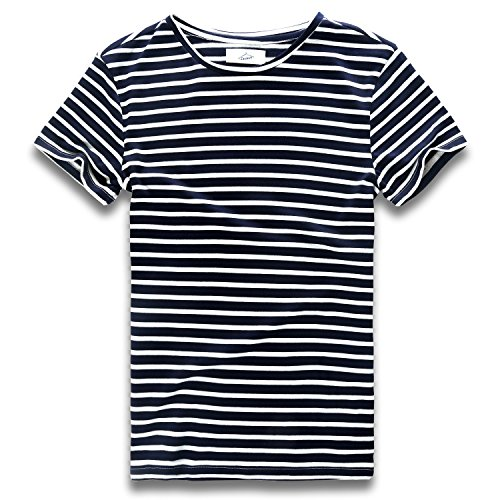 Zecmos Mens Stripes T-Shirts Casual Slim Fit Tshirts Striped Tees Top 432-Blue XL