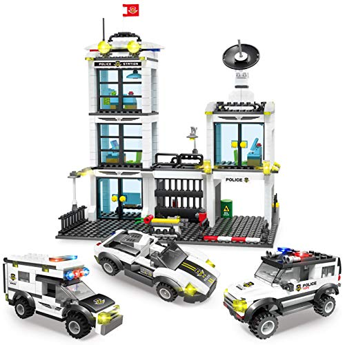 City Police Station & Police Car Toy Building Blocks Set with Cruiser, Escort Car, Prison Van, Bricks Storage Box, Best Education Learning & Roleplay Toys Gift for Boys and Girls 6-12 (736 Pieces)