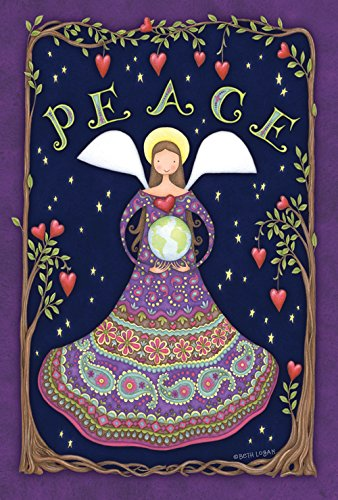 Toland Home Garden Peace Angel 28 x 40 Inch Decorative Colorful Tree Heart Earth Globe House Flag - ()
